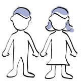 Man and woman symbol. A sketch of a boy and a girl isolated on white, also available in black background Royalty Free Stock Photos
