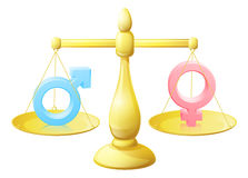 Man woman symbol scales. Gender signs scales equal opportunity concept with man and woman or male and female symbols weighed against each other Royalty Free Stock Images