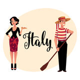 Man and woman symbolizing Italian traditions, fashion, cuisine Stock Photography