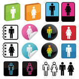 Man and woman symbols. Collections of icons with man and woman symbols, isolated on white Stock Images