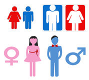 Man and woman symbols. Set of man and woman symbols isolated over white Stock Photos