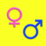 Man woman symbols. Illustration - Gender signs  on a yellow background Royalty Free Stock Image
