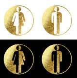 Man woman symbols. In gold Stock Images