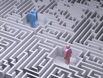 Man and woman symbols in the labyrinth maze Royalty Free Stock Photo