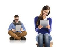 Man and woman with tablet Stock Photography