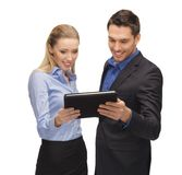 Man and woman with tablet pc Stock Photo