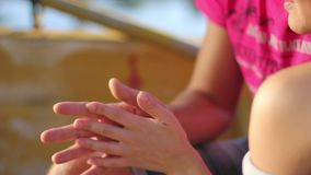 Man and woman taking care of each other, hands touching. Stock footage stock footage