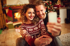 Man and woman taking selfie Royalty Free Stock Images