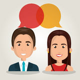 man woman talking bubble dialogue isolated Stock Photography