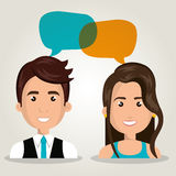 man woman talking bubble dialogue isolated Royalty Free Stock Image