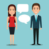 man woman talking bubble dialogue isolated Stock Images