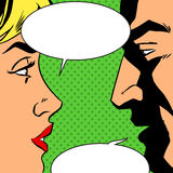 Man and woman talking comics retro style Stock Photo