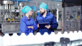 Workers check the quality in the factory stock footage