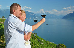 Man and woman tasting wine Royalty Free Stock Photo