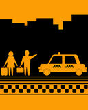 Man and woman on taxi stop Royalty Free Stock Photos