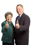 Man and woman team. Male and female executive team corporate son mother with thumbs up royalty free stock photos