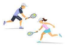 Man and woman tennis players isolated Royalty Free Stock Image