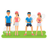 Man and woman tennis sport athletes. Players playing, training and practicing with tennis racket. Flat design people characters Royalty Free Stock Image