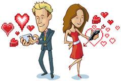 Man and woman texting with pixel hearts vector car. Vector cartoon illustration of a man and woman texting each other love notes, indicated by pixel art heart stock illustration
