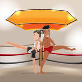 Man Woman Thai Boxing Stage Vector Stock Photo
