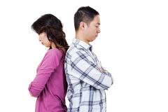 Man and woman with their backs to each other. Man and women with their backs to each other against white background stock photography