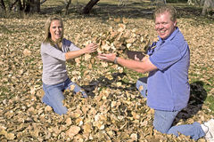 Man and woman throwing leaves Stock Photos