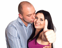 Man and woman with thumbs-up gesture Royalty Free Stock Photography