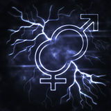 Man and woman thunderbolt. Man and woman signs with the lightning Stock Images