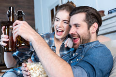 Man and woman toasting Royalty Free Stock Photography