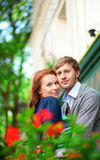 Man and woman together on balcony Royalty Free Stock Photography