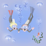 Man and woman together dive. Man and woman together have a dive, vector eps10 Stock Photos