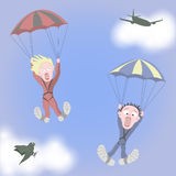 Man and woman together are screaming in fear during skydiving vector illustration
