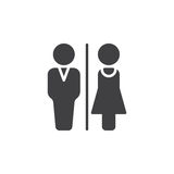 Man and Woman toilet icon vector, filled flat sign, solid pictogram isolated on white. Royalty Free Stock Images