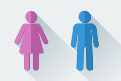 Man and woman toilet symbols in flat style Stock Photos