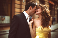 Man and woman touch each other heads tender Royalty Free Stock Image