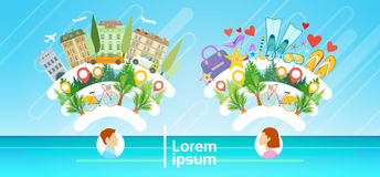 Man and Woman Tourist Destination Summer Vacation Tourism Concept. Flat Vector Illustration Royalty Free Stock Photo