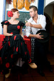 Man and Woman in traditional flamenco dresses dance during the Feria de Abril on April Spain Stock Photography