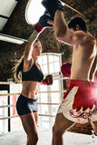 Man woman training gym boxing mma ring pads mixed martial arts f Stock Photography