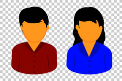 Man and Woman, at Transparent Effect Background. Vector Man and Woman, at Transparent Effect Background Stock Images