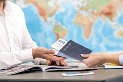 Man and Woman Travel Agency Concept Stock Images