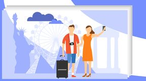 Man and woman Travel Take Photo against the backdrop of the world`s landmarks. Group of Traveler People stock illustration