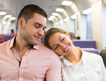 Man and woman travel in train Stock Photography