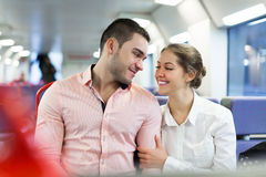 Man and woman travel in train Royalty Free Stock Photos