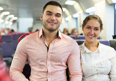 Man and woman travel in train Royalty Free Stock Images