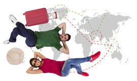 Man and woman traveler Stock Photo