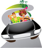 Man and the woman travelling by the car vector illustration