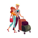 Man and woman travelling together, going on vacation Royalty Free Stock Photography