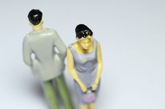 Man and woman turn back Stock Photography