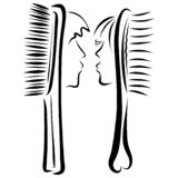 Man and woman, two romantic combs with human faces vector illustration