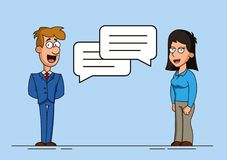 Man and woman or two workers are engaged in dialogue. Speech bubbles. Discussion of an idea or problem. Meeting of two. Friends royalty free illustration